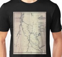 0050 Railroad Maps Map showing the proposed rail roads from Boston to Burlington from Hale's map of New Unisex T-Shirt