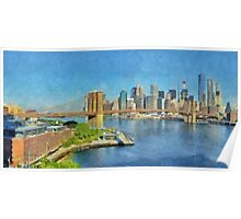 Lower Manhattan And The Brooklyn Bridge Poster