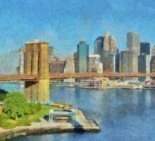 Lower Manhattan And The Brooklyn Bridge Sticker
