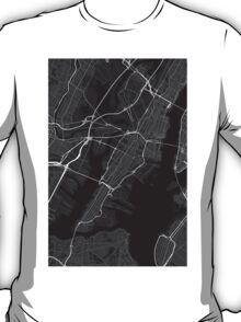 Jersey City, USA Map. (White on black) T-Shirt