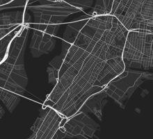 Jersey City, USA Map. (White on black) Sticker