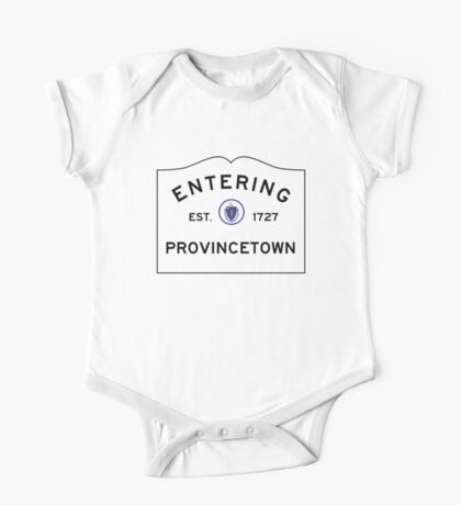 Entering Provincetown - Commonwealth of Massachusetts Road Sign One Piece - Short Sleeve