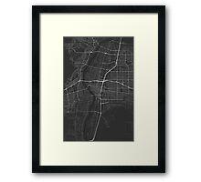 Albuquerque, USA Map. (White on black) Framed Print