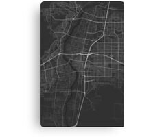 Albuquerque, USA Map. (White on black) Canvas Print