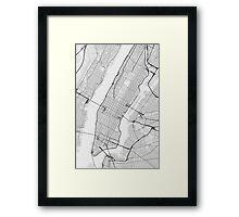 Manhattan, New York, USA Map. (Black on white) Framed Print