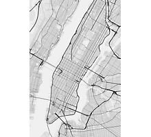Manhattan, New York, USA Map. (Black on white) Photographic Print