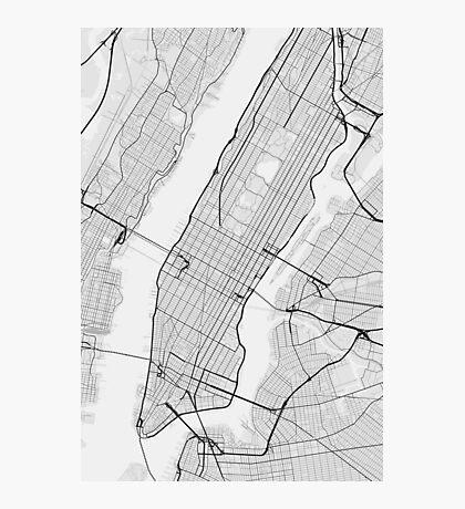 Manhattan, New York, USA Map. (Black on white) Photographic Print