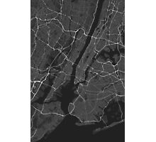 New York, USA Map. (White on black) Photographic Print