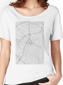 Charlotte, USA Map. (Black on white) Women's Relaxed Fit T-Shirt