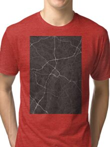 Charlotte, USA Map. (White on black) Tri-blend T-Shirt