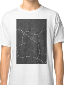 Durham, USA Map. (White on black) Classic T-Shirt