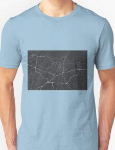Greensboro, USA Map. (White on black) Unisex T-Shirt