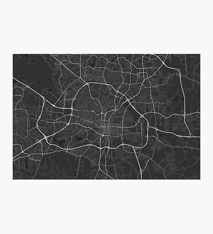 Raleigh, USA Map. (White on black) Photographic Print