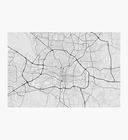 Raleigh, USA Map. (Black on white) Photographic Print