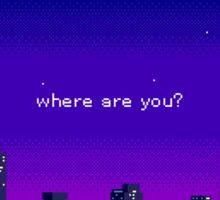 where are you? purple vaporwave city Sticker