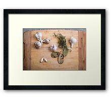 Top view of the garlic and dried spices for cooking food  Framed Print