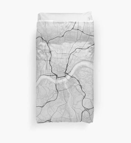 Cincinnati, USA Map. (Black on white) Duvet Cover