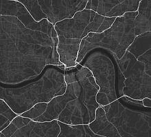 Cincinnati, USA Map. (White on black) by Graphical-Maps