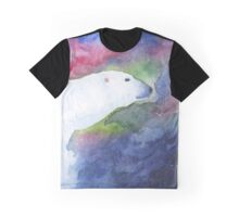 Watercolor Polar Bear with Aurora Borealis Graphic T-Shirt