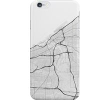 Cleveland, USA Map. (Black on white) iPhone Case/Skin