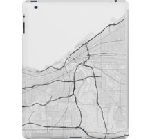 Cleveland, USA Map. (Black on white) iPad Case/Skin