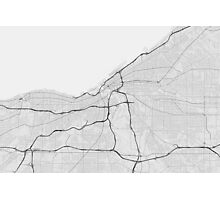 Cleveland, USA Map. (Black on white) Photographic Print
