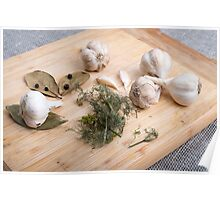 Wooden board with garlic and dried spices closeup Poster