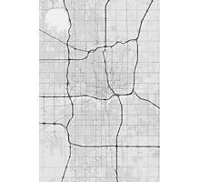 Oklahoma City, USA Map. (Black on white) Photographic Print