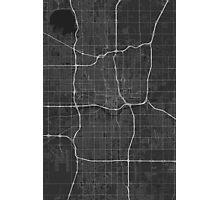 Oklahoma City, USA Map. (White on black) Photographic Print