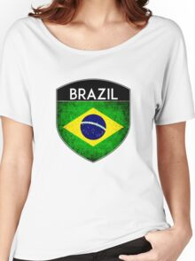 BRAZIL BRASIL FLAG CREST BADGE EMBLEM GRUNGE Women's Relaxed Fit T-Shirt