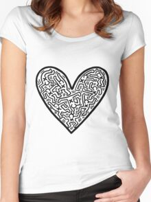 Keith Haring Heart Women's Fitted Scoop T-Shirt