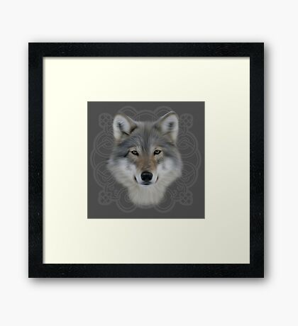 Wolf and saxon motif large image Framed Print