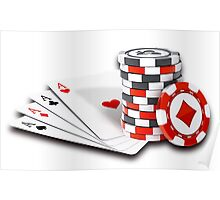 Poker cards and chips Poster