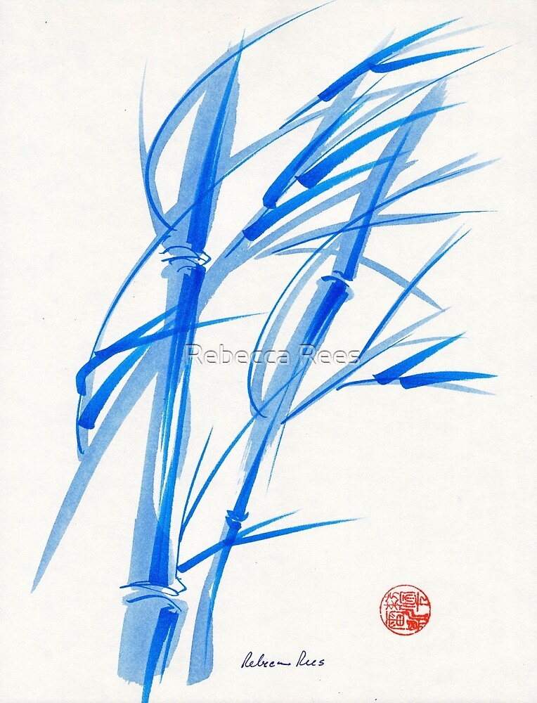 SOFT BREEZE - Original watercolor ink wash painting by Rebecca Rees