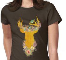 Enchanted Forest, golden buck, birds nest, flowers, bird Womens Fitted T-Shirt