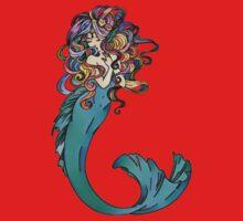 Colorful Mermaid Art Kids Tee