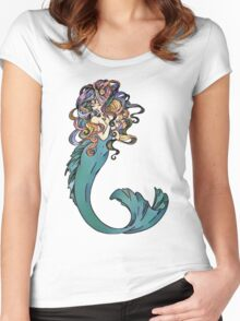 Colorful Mermaid Art Women's Fitted Scoop T-Shirt