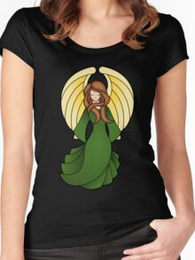 Stain Glass Angel Green Red Women's Fitted Scoop T-Shirt