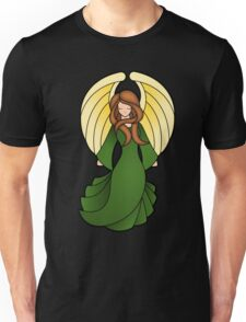 Stain Glass Angel Green Red Unisex T-Shirt