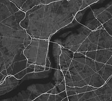 Philadelphia, USA Map. (White on black) by Graphical-Maps
