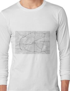 Fort Worth, USA Map. (Black on white) Long Sleeve T-Shirt