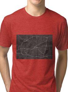 Fort Worth, USA Map. (White on black) Tri-blend T-Shirt