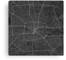 Houston, USA Map. (White on black) Canvas Print