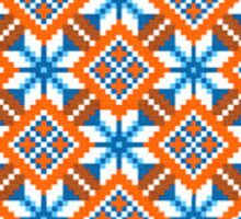 Bulgarian vintage pattern, seamless - Blue, White and Orange Sticker