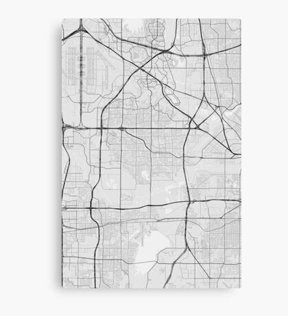 Irving, USA Map. (Black on white) Canvas Print