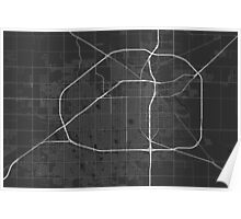 Lubbock, USA Map. (White on black) Poster