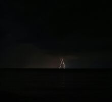 Twin Lightning over Lake Superior (two) by jrier