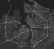 Norfolk, USA Map. (White on black) by Graphical-Maps