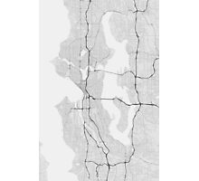 Seattle, USA Map. (Black on white) Photographic Print