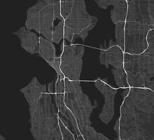Seattle, USA Map. (White on black) by Graphical-Maps